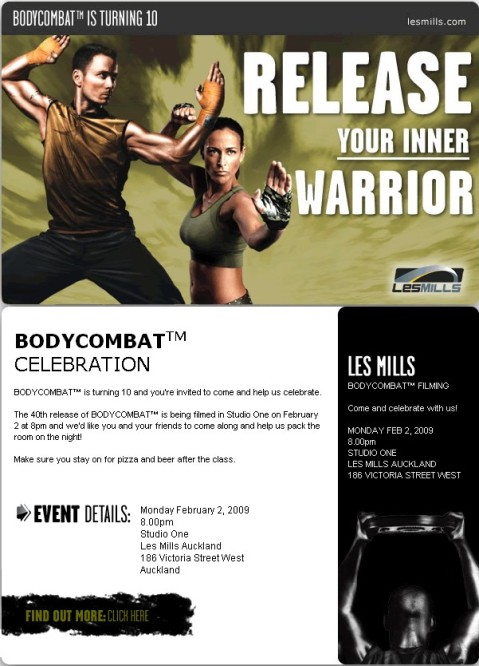 BODYCOMBAT 40 filming invite
