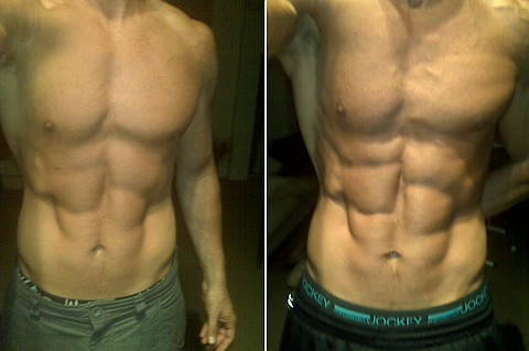 Two pics taken one month apart showing effects of BODYCOMBAT and proper diet