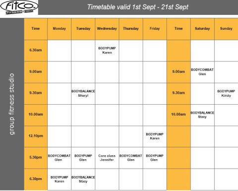 FitCo Tauranga Group Fitness Timetable